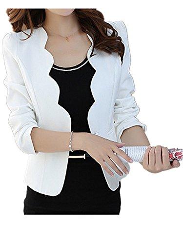 Robin Santiago Single Button Blazer For Women Spring New Casual Slim-Fit Front Pocket Suit Jacket Feminino White S -