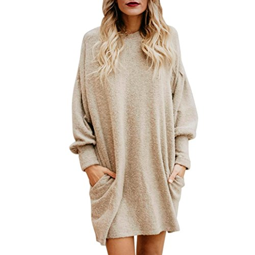 American Made Women Clothing - CCSDR Women's Dress,Fashion Women Solid O-Neck Pocket Long Sweater Long Sleeve Casual Loose Pullover (XL)