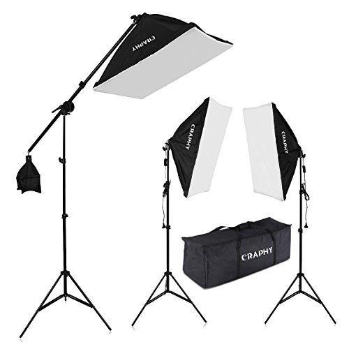 CRAPHY Photography Studio Soft Box Lighting Kit 20″x25″ Softbox + 80″ Light Stand + 135W 5000K Continuous Lamp + Carrying Bag