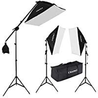 CRAPHY Photography Studio Soft Box Lighting Kit 20x25 Softbox + 80 Light Stand + 135W 5000K Continuous Lamp + Carrying Bag
