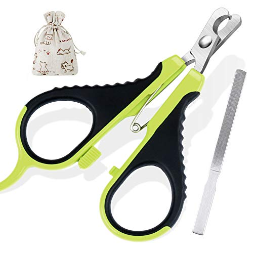 cyrico Cat Nail Clippers Pet Nail Clippers for Small Animals with Free Nail File-Professional Small Breed Claw Clippers Claw Toenail Trimmer for Cats Puppy Birds Rabbits Hamsters Ferrets (Black/Green)