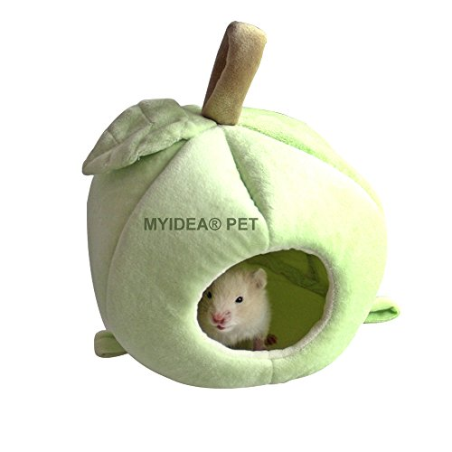 MYIDEA Lovely Apple Pet Nest - Fruit Sleeping House for Hamster / Guinea pigs / Birds / Lizard / Sugar glider (Red Apple Nest) (L, Green Apple Nest) (Sugar Glider Bedding)