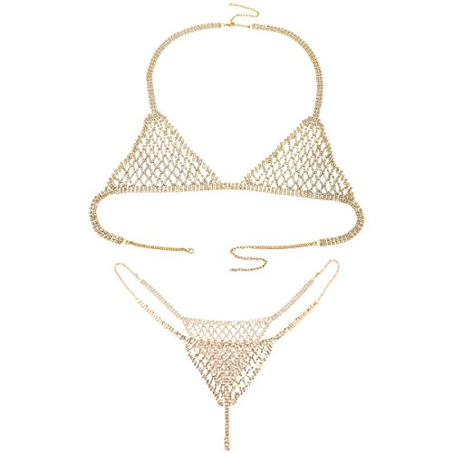 Ingemark Sexy Statement Crystal Bikini Chain for Women Top Bra Brief (Gold Chain Bikini)