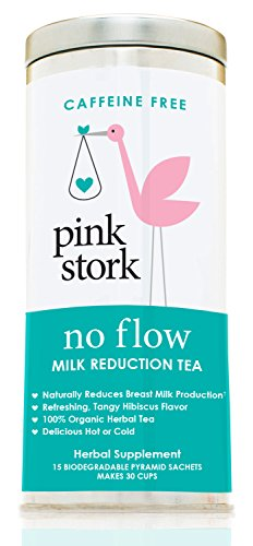 Tea Outfit (Pink Stork No Flow: Milk Reduction Tea, Organic Loose Leaf in Biodegradable Sachets for Reducing Breast Milk Flow & Supply -30 cups, -Caffeine Free, -Non-GMO, -Hibiscus Flavor, Delicious Hot or Cold!)