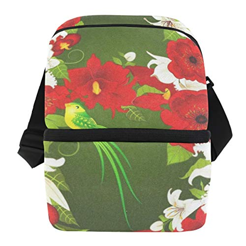 Lunch Bag Letter B With Flowers And Bird Insulated Cooler Bag Mens Leakproof Thermos Storage Zipper Tote Bags for Golf ()