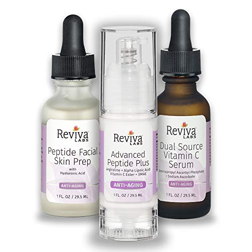 Reviva Labs Anti-Aging Trio Kit: 1 Peptide Facial Skin Prep + 1 Advanced Peptide Plus + 1 Dual Source Vitamin C Serum - (Bundle of 3 Products)