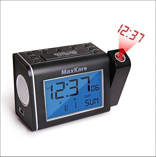 Projection Alarm Clock with Alarm, Radio, USB Port, and Adjustable Brightness, Snooze Function, Digital Alarm Clock for Time Projection, Perpetual Calendar, and Easy Life MaxKare