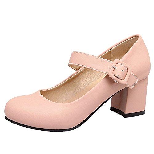 Mee Shoes Women's Sweet Round Toe Buckle Mid Heel Court Shoes Pink 7ZIANn4W4