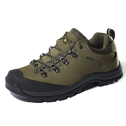 CAMEL CROWN Hiking Shoes Men Trekking Shoe Low Top Outdoor Walking Waterproof Leather Trail Sneakers Green 7.5 D(M) US