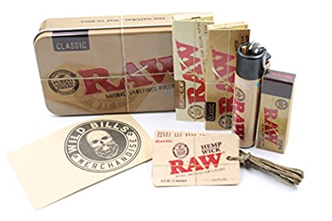 Bundle 6 Items Raw 1 1/4 Rolling Paper Stash Deal with Tin