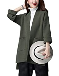 Tidecloth Women's Straight Hem Regular Fit Long Sleeve Solid Cardigan Army green US 4