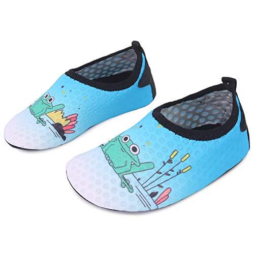 Aqua Frog - L-RUN Kids Water Shoes Quick-Dry Boys Girls Aqua Beach Shoes Blue 5-5.5=EU20-21