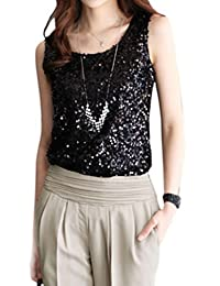 yulinge Womens Summer Sleeveless Sequins Tank Top Solid Tops Plus Size
