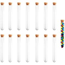 15Pcs 30ml Plastic Test Tubes with Cork Stoppers Containers for M&Ms Skittles Candy Bath Salts Storage KINDPMA Clear Candy Tubes for Scientist Nerds Party Halloween Wedding Party Décor 20X150mm