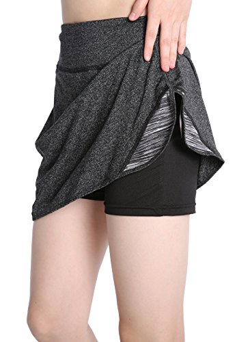 EAST HONG Women's Golf Skorts Workout Running Tennis Skorts (Gray, L)