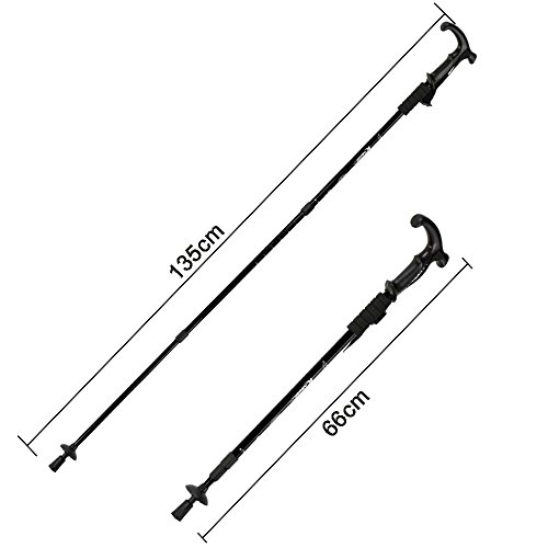 """Telescopic Black Trekking Sticks Poles with Camera Mount Tips Nonskid Shock-Resistant for Wading Nordic Walking Climbing Tent Emergency Survival Gear Fishing etc Adjustable from 26"""" to 53"""" 2 x piece"""