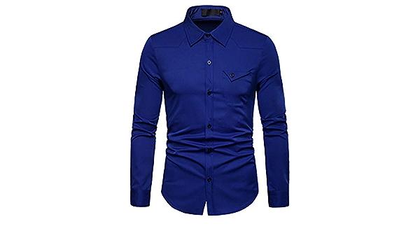 cinnamou - Camisa para hombre de un solo color, estilo casual ...