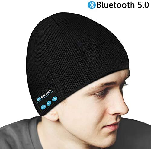 Bluetooth Beanie Hat,Wireless Bluetooth 5.0 Unisex Winter Music Hat Warm Knit Cap with Headphone Headset Stereo Speaker Mic Hands Free for Outdoor Sports,Unique Birthday for Men Women