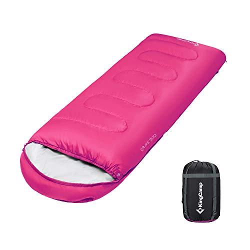 KingCamp Envelope Sleeping Bag 4 Season Lightweight Comfort with Compression Sack Camping Backpack 8.6F/-13C