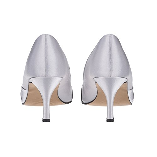 Diamante Pointed Toe A Medium Shoe Court Heel Silver With Trim rRWacrBp