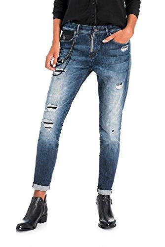 SALSA Relaxed Jeans Capri con Cadenas Azul