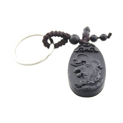 (FOY-MALL Chinese Zodiac Tiger Ebony Wood Carved Men Women Car Key Ring for Gift M1103 by)