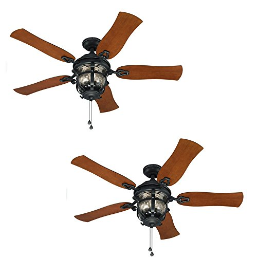 Set of 2 Harbor Breeze Lake Placido 52-in Aged Iron Outdoor Downrod or Flush Mount Ceiling Fan with Light Kit Review