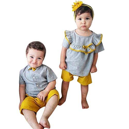 New!!Toddler Kids Baby Boys 2Pcs T-Shirt Tee Bow Tops+Solid Shorts Pants Outfits -