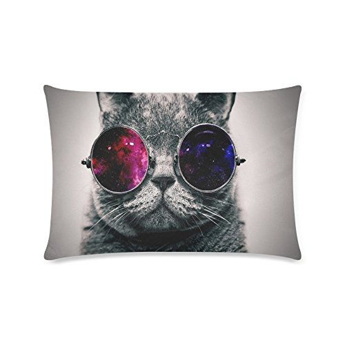Galaxy Hipster Cat Theme Funny Cat Wear Color Sunglasses Rectangle Sofa Home Decorative Throw Pillow Case Cushion Cover Cotton Polyester Twin Side Printing 16