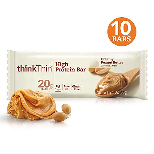 thinkThin High Protein Bars - Creamy Peanut Butter, 20g Protein, 0g Sugar, No Artificial Sweeteners, Gluten Free, GMO Free*, Best Nutritional Snack/Meal bar, 2.1 oz bar (10Count)