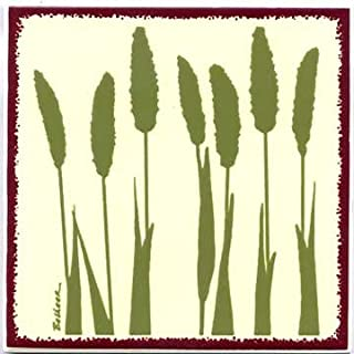 product image for Fox Tail Millet Tile, Botanical Wall Plaque, Botanical Trivet-BB-3 by Besheer Art Tile, Bedford New Hampshire. U.S.A.