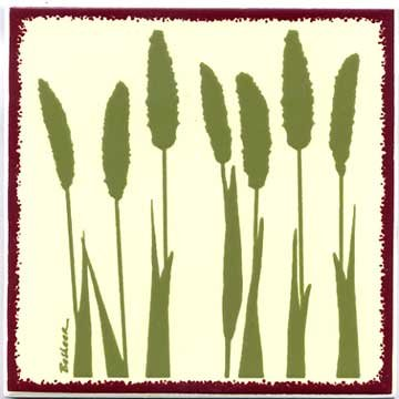 FOX TAIL MILLET TILE, BOTANICAL WALL PLAQUE, BOTANICAL TRIVET-BB-3 by Besheer Art Tile, Bedford New Hampshire. U.S.A. ()