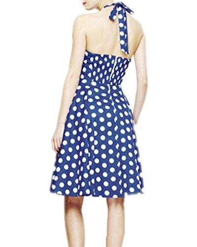 Damen Polka Dots Druck Neckholder Kleid Rockabilly Swing Hochzeit