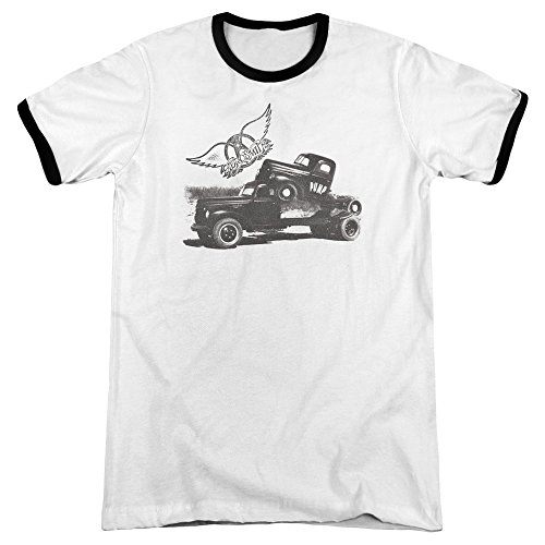 alto cuello hombre Camiseta blanco de para Aerosmith negro Hwqft