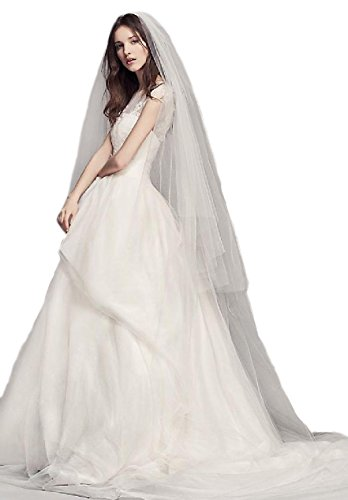 Passat Diamond White Two-Tier 3M Cathedral Tulle bridal veil hot sales with Raw Edge DB112 by Passat