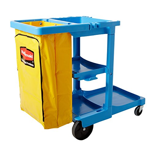 Rubbermaid Commercial Xtra Utility Cart, Blue, FG617388BLUE - Capacity Cleaning Cart