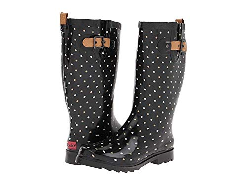 Chooka Women's Tall Rain Boot, Classic Dot Black, 10 M US