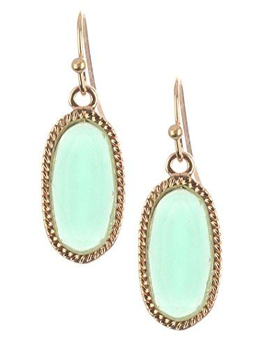 Fashion Jewelry ~Oval Lucite Stone Fish Hook Goldtone Dangle Earrings (MME25409GD Mint Green) Green Fish Earring