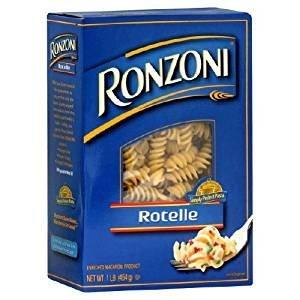 Ronzoni Rotelle Enriched Macaroni Non GMO 16 Oz. Pack Of 3.