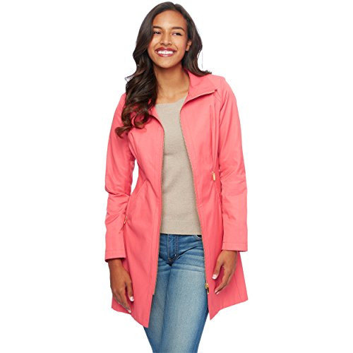 Via Spiga Women's Long Zip Coat, Coral, XL (Via Coat Womens)