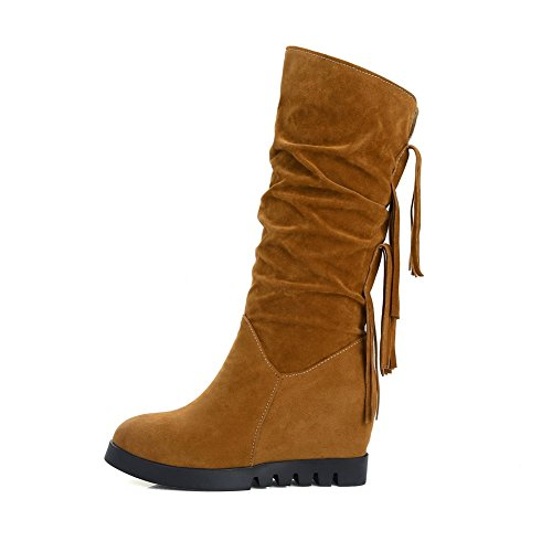 AdeeSu Womens Fringed Mid-Calf No-Closure Suede Boots SXC02397 Yellow HZVjJvNI
