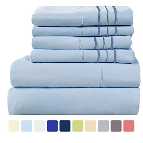 WARM HARBOR Microfiber Sheet Set Super Soft 1800 Thread Count Deep Pocket Bed Sheets Wrinkle, Fade, Stain Resistant -6 Piece(Lake Blue, King) (Thread Count 700)