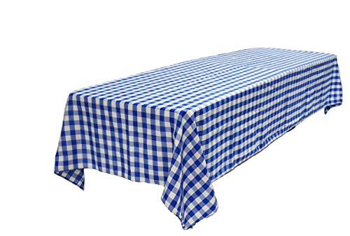 Pack of 4 Plastic Blue and White Checkered Tablecloths - 4 Pack - Picnic Table Covers by Oojami]()