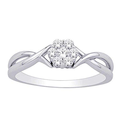 - Saris and Things 10K White Gold 0.22 Ct.tw. Diamond Flower Ring