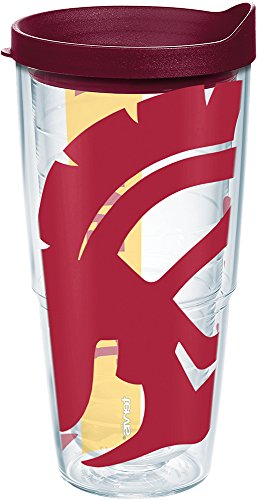 (Tervis 1238938 Usc Trojans Colossal Insulated Tumbler with Wrap and Maroon Lid, 24oz, Clear)