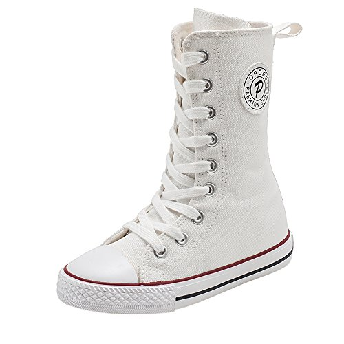 Cheap White Boots (iFANS Girl Tall Punk Canvas Sneakers Lace up High Boots(Toddler/Little Kid/Big Kid))