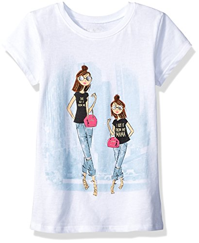 The Children's Place Big Girls' Short Sleeve Graphic Tee, White, XL (14)