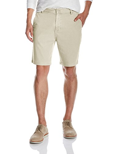Quality Durables Co. Men's Stretch Cotton Regular-Fit Chino Flat-Front Short 40 x 10.5 Cement