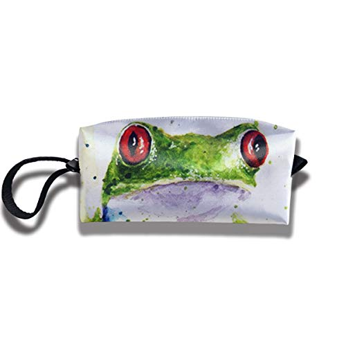OUYTSDF Pen Case Watercolor Frog Zipper Pouch Small Cosmetic Makeup Bag Organizer Handbag for Adults Girls ()