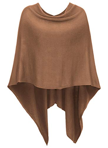 DJT Womens Solid Knit Short Asymmetric Wrap Poncho Topper Red-Brown